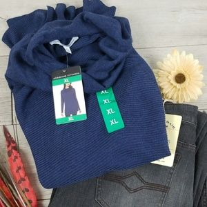 ⭐Cowl Neck Navy Blue Long Tunic Sweater ~ NWT ~